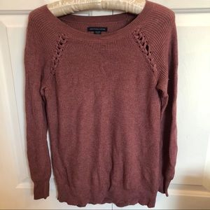 American Eagle crew neck pullover braided sweater